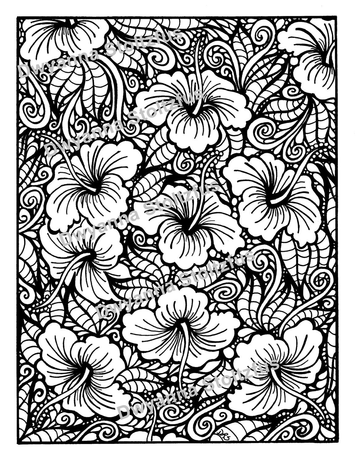 Hibiscus Coloring Page By ColoringwithDwyanna On Etsy