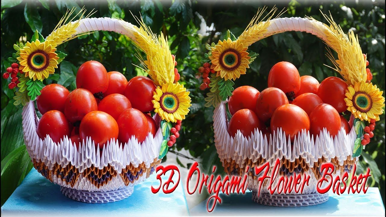 How To Make 3d Origami Flower Basket Cmo Hacer La Cesta De Flores