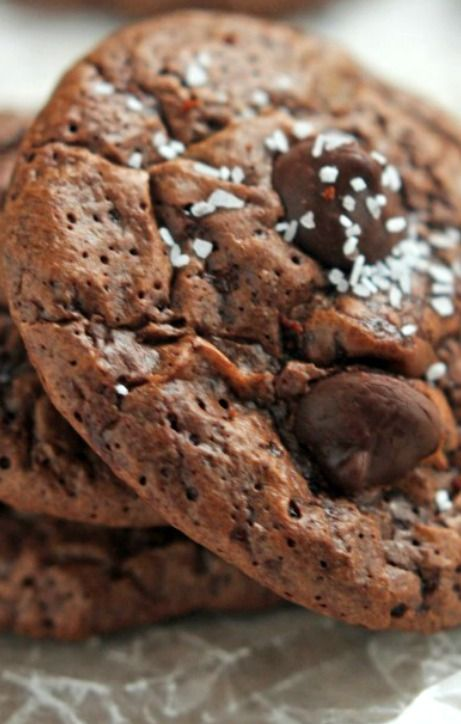 Chocolate Truffle Cookies with Sea Salt Recipe ~ A  rich chocolate truffle cookie studded with dark chocolate and topped with pinch of salt. Easy and delicious.