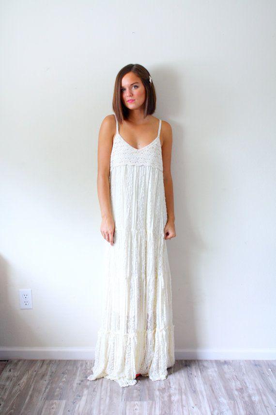 Vintage Boho Wedding dress // boho crochet // shabby chic // floor ...