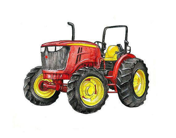 Colorful Farm Tractors - Watercolor Print Set | Pinterest ...