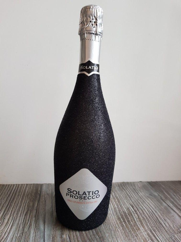 Prosecco Glitter Bottle Black fles zwart Prosecco