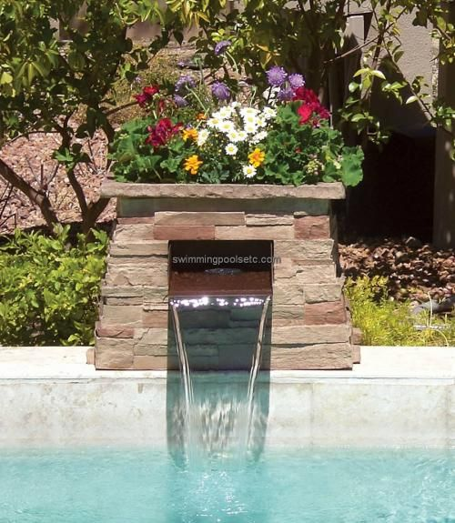 Pool water feature google search pool pool waterfall - Swimming pool water feature ideas ...