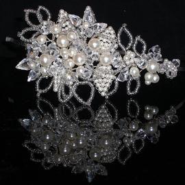 CRYSTAL /&PEARL TIARA HAIRBAND BRIDE BRIDESMAID PROM CHOOSE YOUR SWAROVSKI COLOUR