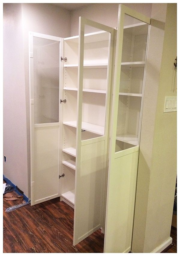 Easy Diy Freestanding Pantry With Doors From A Billy Bookcase Ikea Billy Bookcase Ikea Hack