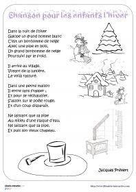 Chanson Pour Les Enfants Lhiver Les Paroles De La Poésie