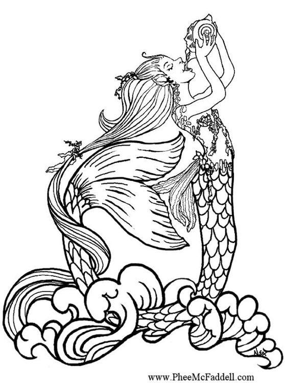 Coloring or watercolor painting page - mermaid drinking rain water ...