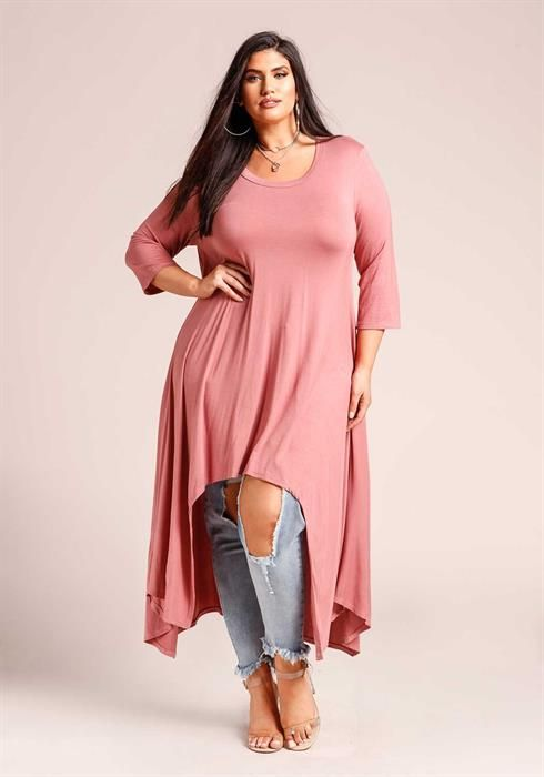 $32.95---3X---MAUVE--- Hi-Lo Jersey Knit Dress | Primpify Plus ...