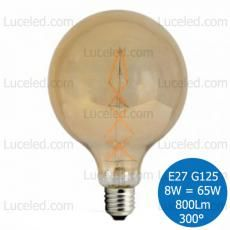 V-TAC VT-2018 LAMPADINA LED GLOBO AMBRATA FILAMENTO E27 8W = 65W G125 300° 800LM