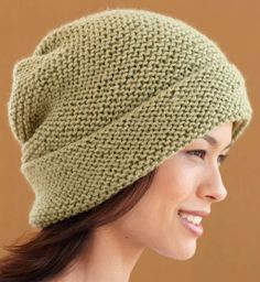 61466fcb49c Free knitting pattern for simple slouchy hat knit flat in garter stitch.  This and more