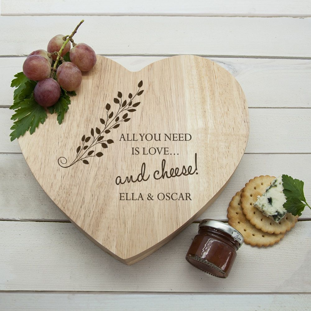 All You Need is Love' Heart Cheese Board Personalized