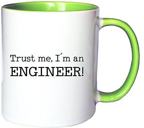 Mister Merchandise Kaffeetasse Becher Trust me, I´m an Engineer! Ingenieur, Farbe: Weiß-Grün - http://geschirrkaufen.online/mister-merchandise/weiss-gruen-mister-merchandise-kaffeetasse-me-i-m