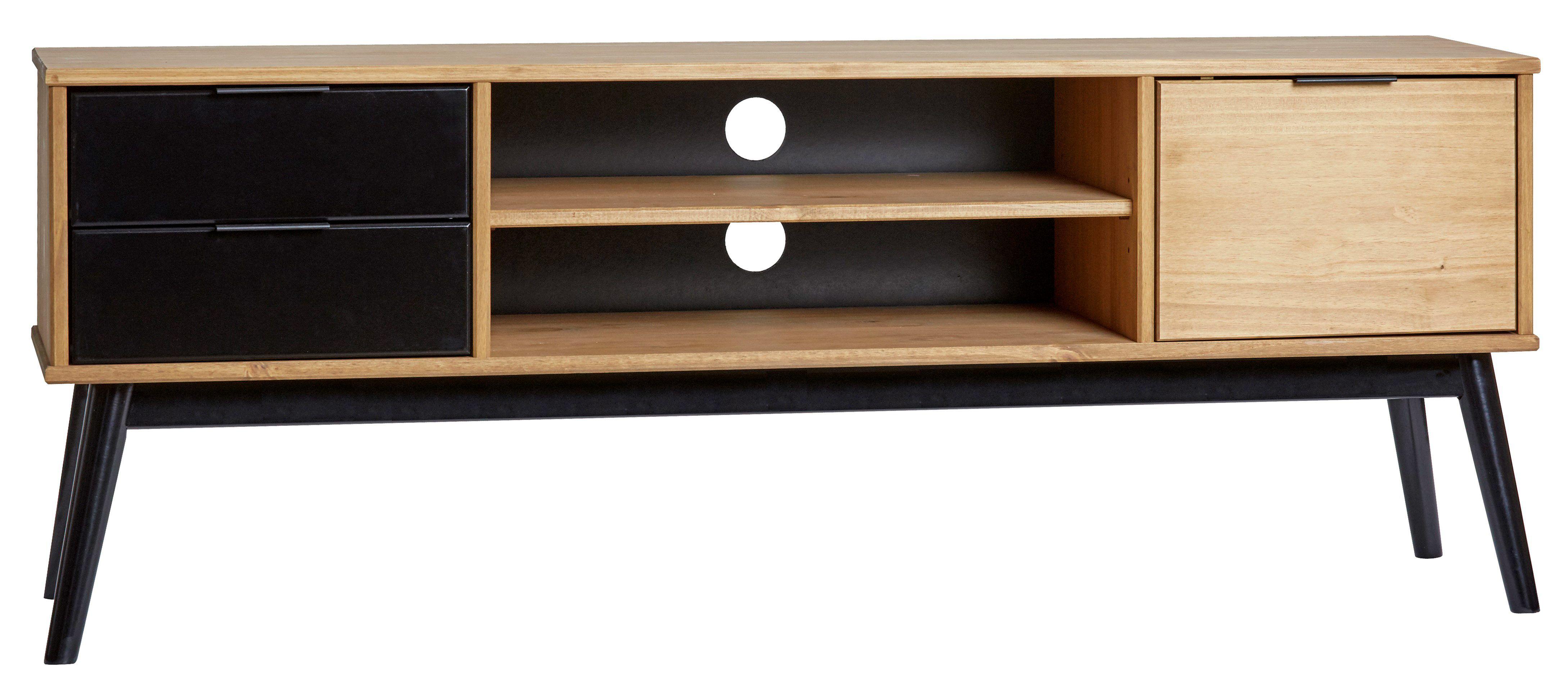 meilleur service 722c5 2a743 Meuble TV ethnique LUCIA Noir et bois ciré | Mobilier de ...