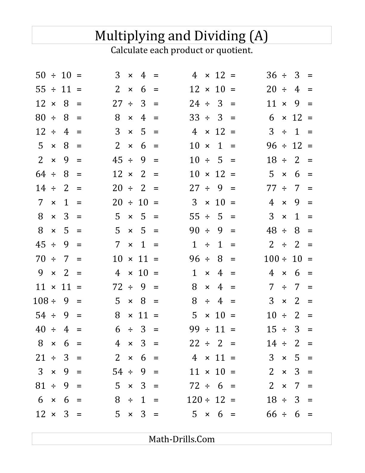 The 100 Horizontal Multiplication Division Questions