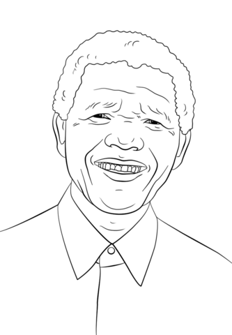 Nelson Mandela coloring page from Famous people category