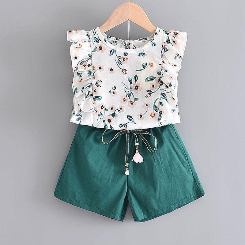 Ropa Para Ninas Con Diseno De Oso Leader Moda 2020 Camisa Para Ninas Con Lazo Y Flores Pantalones Cortos A Raya In 2021 Outfit Sets Girls Clothing Sets Girl Outfits