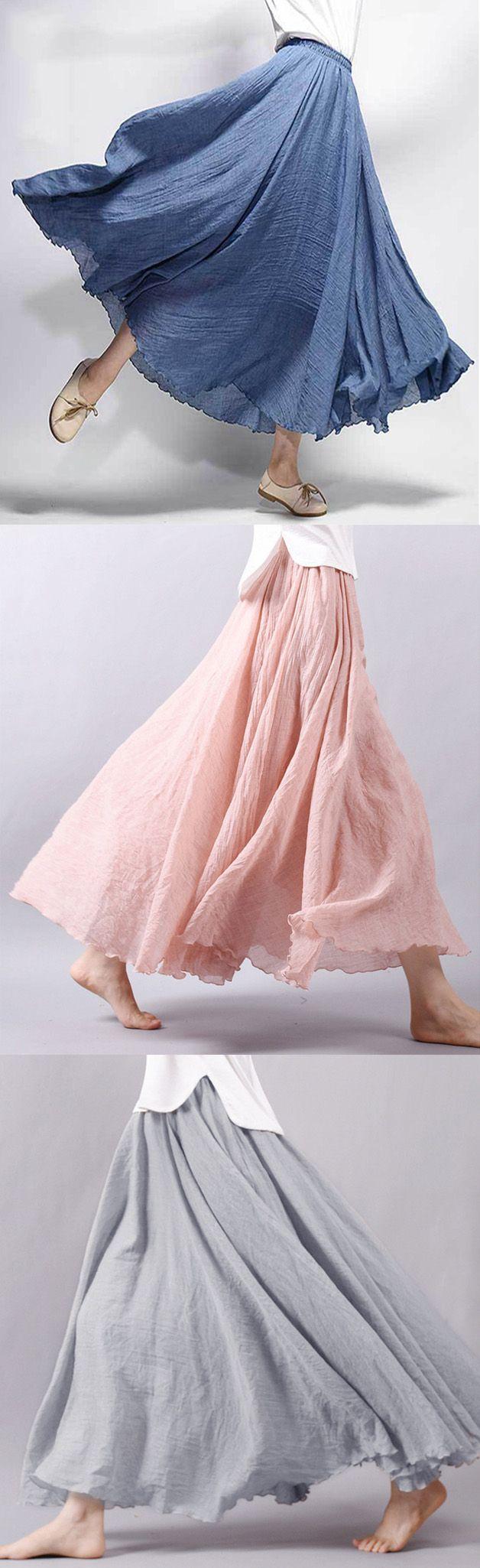 Gracila Women Casual Loose Cotton Pure Color Skirts. #women #skirts ...
