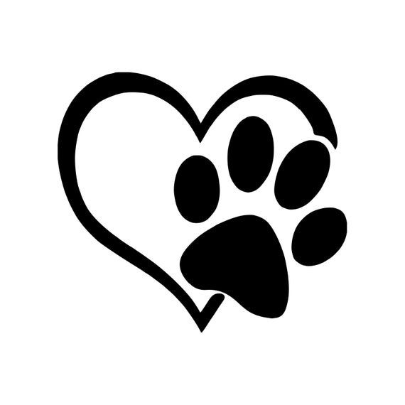 HEART with PAWPRINT Vinyl Decal Sticker  Love Dog Puppy Cat | Etsy