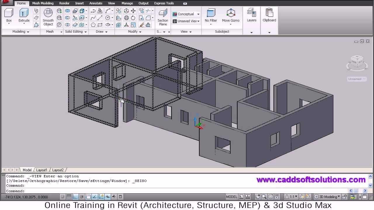 Autocad 3d House Modeling Tutorial 1 3d Home Design 3d Building 3d Floor Plan 3d Room 3d Home Design Software Home Design Software 3d Home Design
