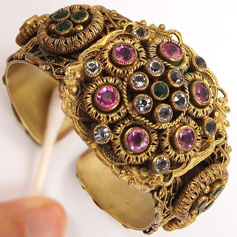 Vintage Signed SANDOR Hinged Bangle Bracelet