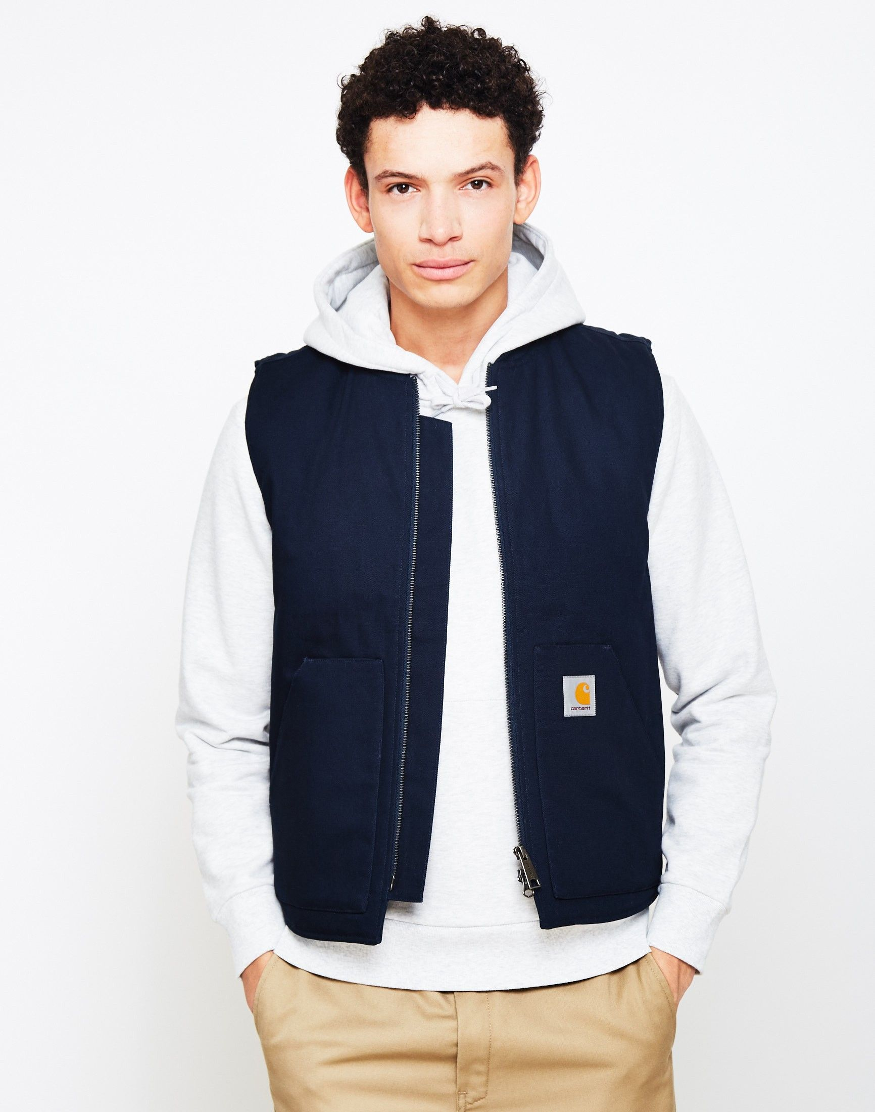 New In | Carhartt WIP Vest in Navy | Shop all men\'s clothing at The ...