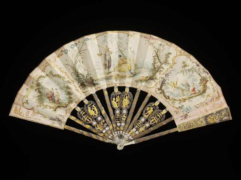 1760-1770, France - Fan - Painted in watercolour on vellum, with carved mother-of-pearl sticks and guards, decorated with gilt and silver foil