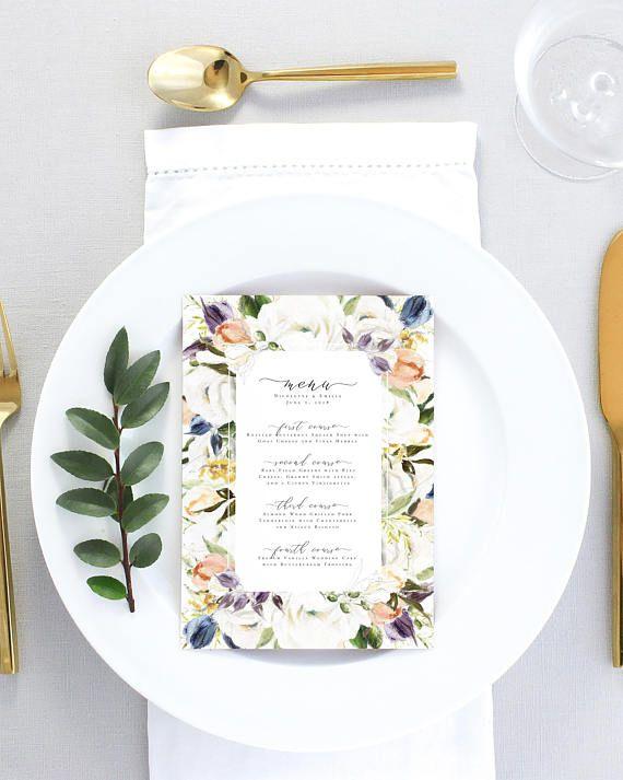 Floral Wedding Menu Printed Elegant Wedding Menu Printable