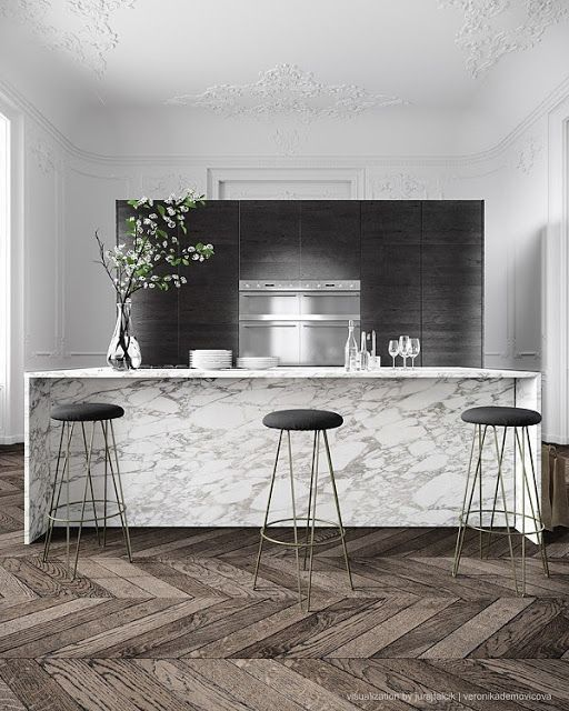 Pin By Great Lakes Stoneworks On Home Thoughts Modern French Interiors Modern Marble Kitchen Kitchen Marble