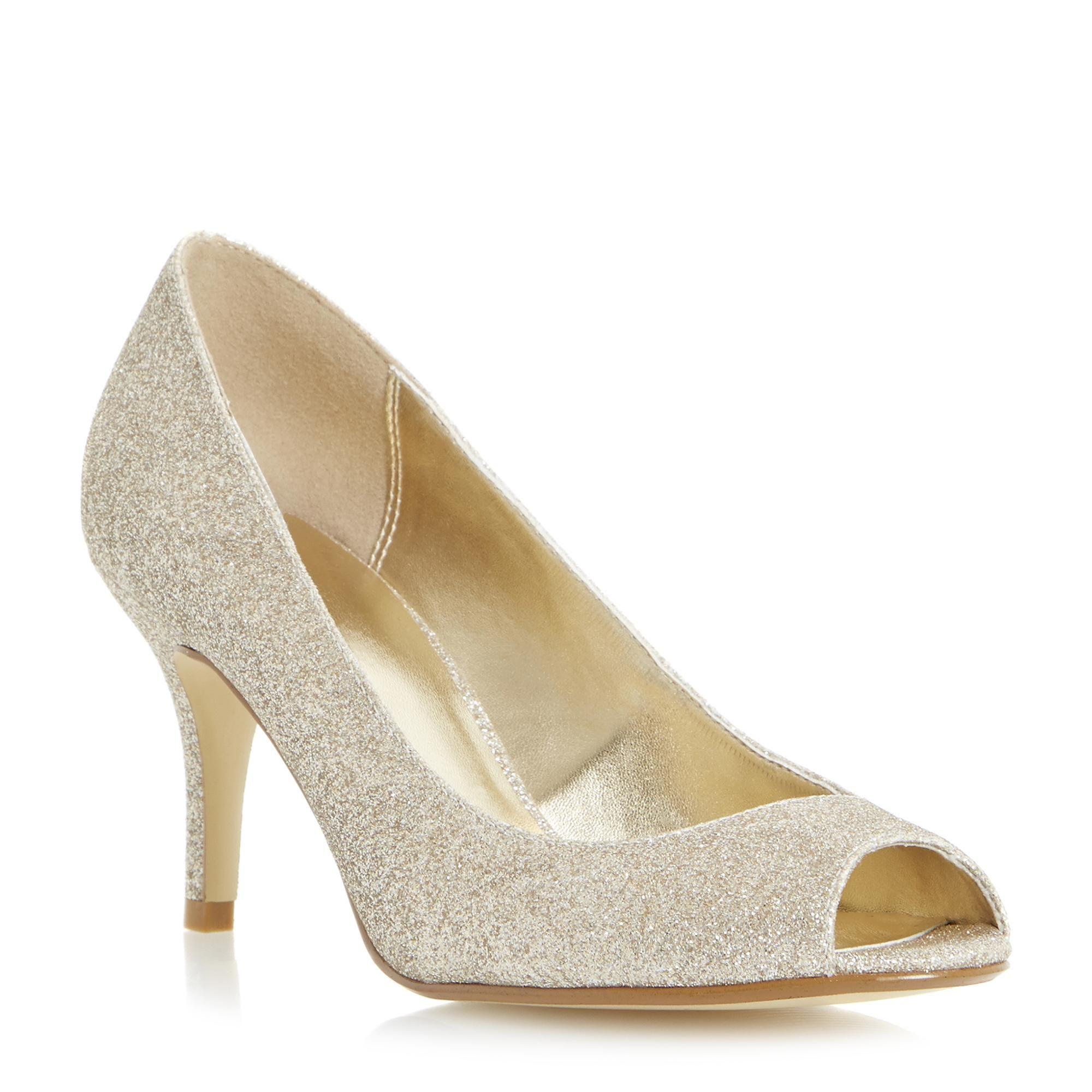 Roland Cartier Ladies DOCKILIES Peep Toe Court Shoe gold