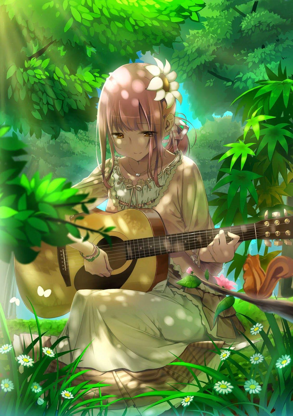 Anime girl with guitar anime manga pinterest