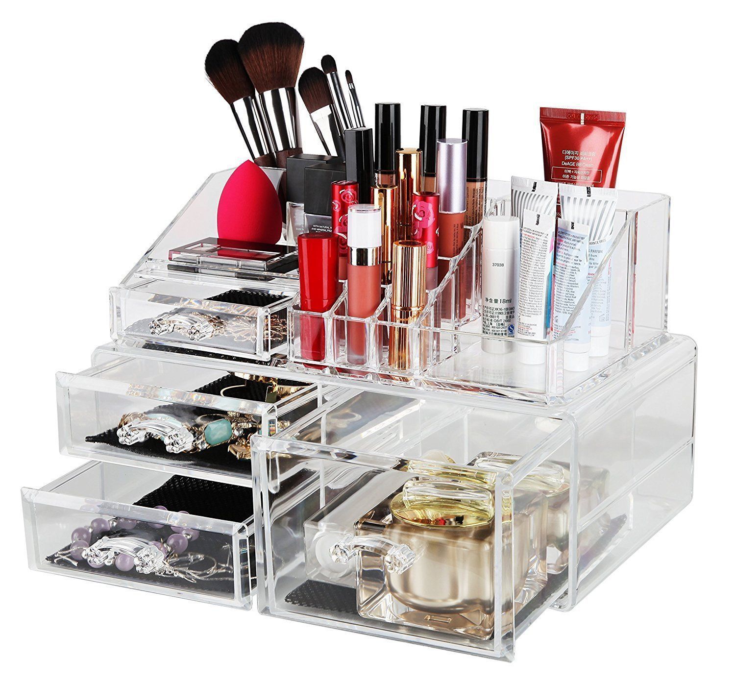 Finnhomy Makeup Organizer Acrylic Cosmetic Organizer Jewelry Storage  Organizer Counter Storage Case X Large Display