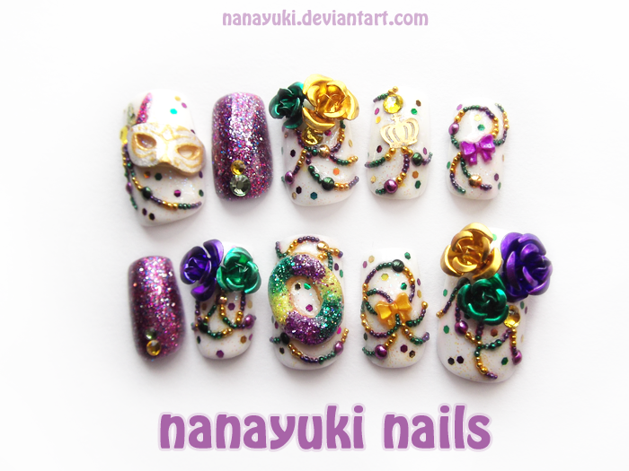 mardi gras nails by Nanayuki.deviantart.com on @deviantART | Nail ...