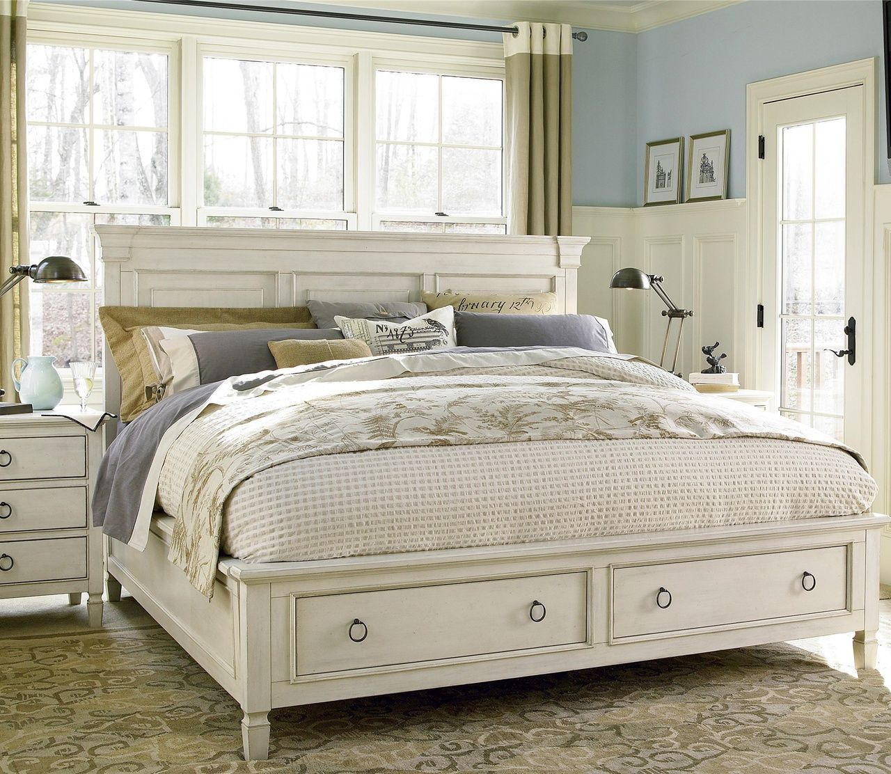 Country-Chic Wood King Size White Storage Bed