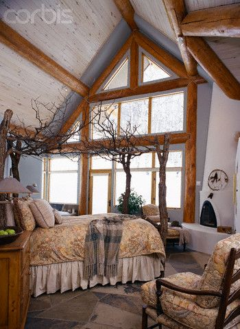 4 poster tree theme bed | Four-Poster Bed made from Tree Branches - 42