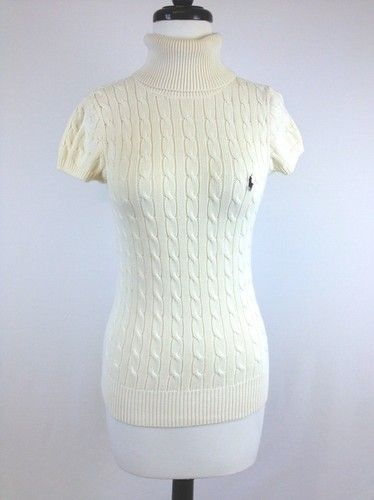 Ralph Lauren Womens Sport Ivory Cotton Cable Knit Turtleneck ...