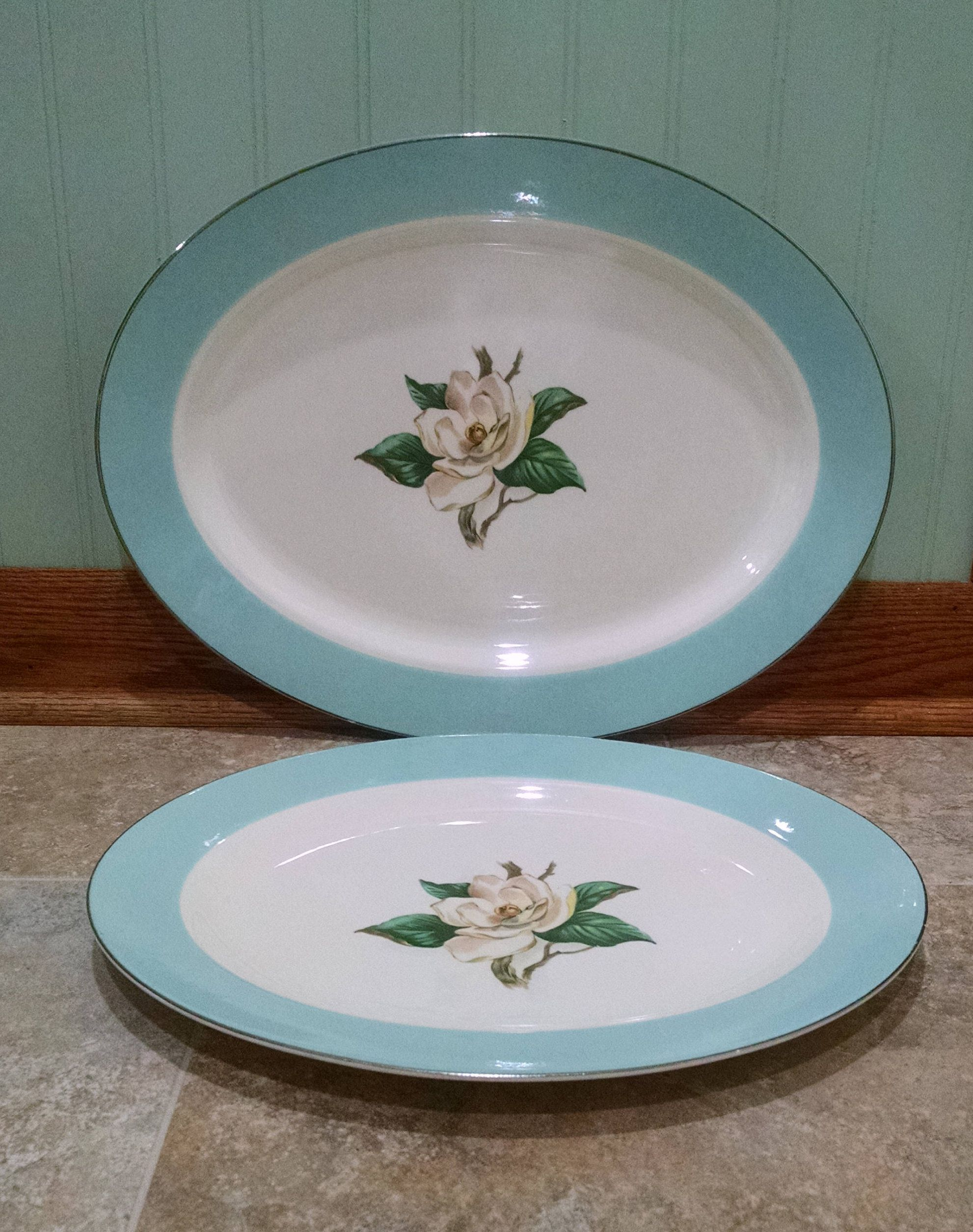 Lifetime China by Homer Laughlin - Turquoise - Magnolia Platter - Set of 2 - One & Lifetime China by Homer Laughlin - Turquoise - Magnolia Platter ...