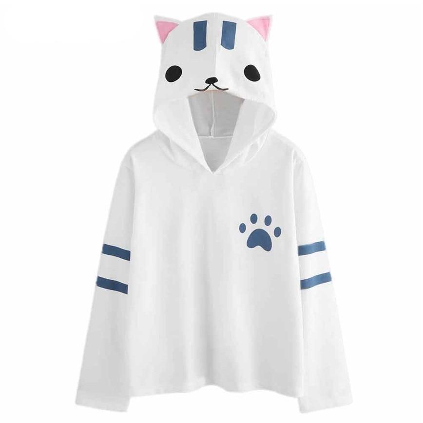 Anime hoodie sweatshirt with kawaii cat ear sweatshirt