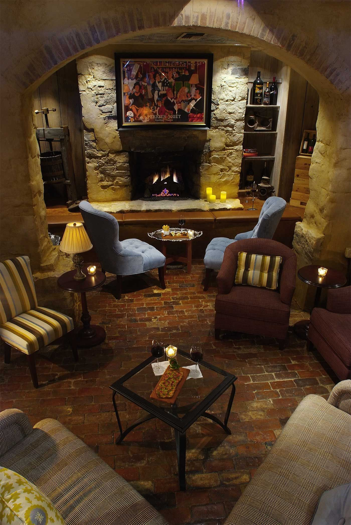 enjoy a wine flight in front of the cozy fireplace in the wine