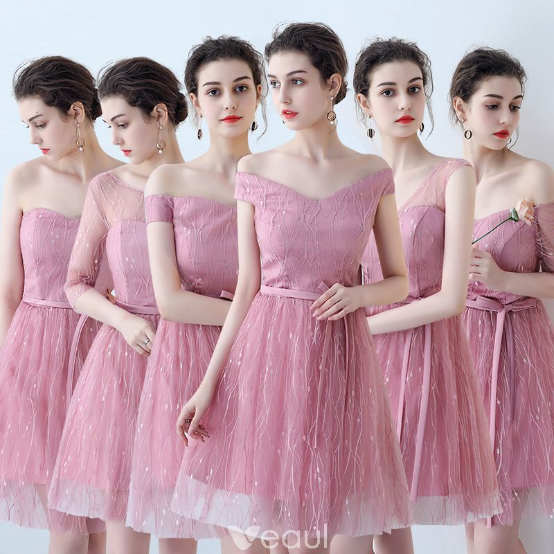 Asequible Hermoso Rosa Vestidos De Damas De Honor 2018 A-Line ...
