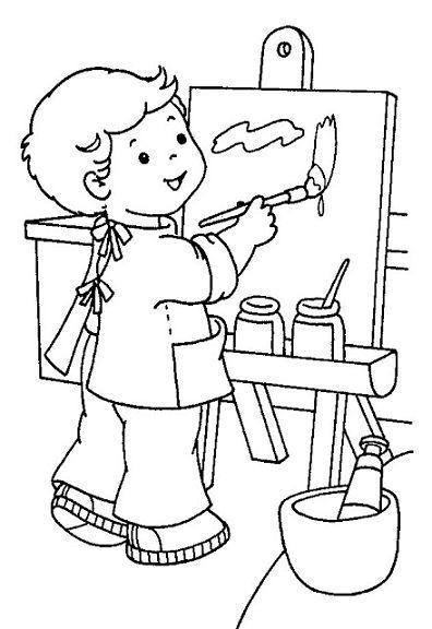 Colorear - Niño pintando - pintar | Arte / museos | Coloring pages ...