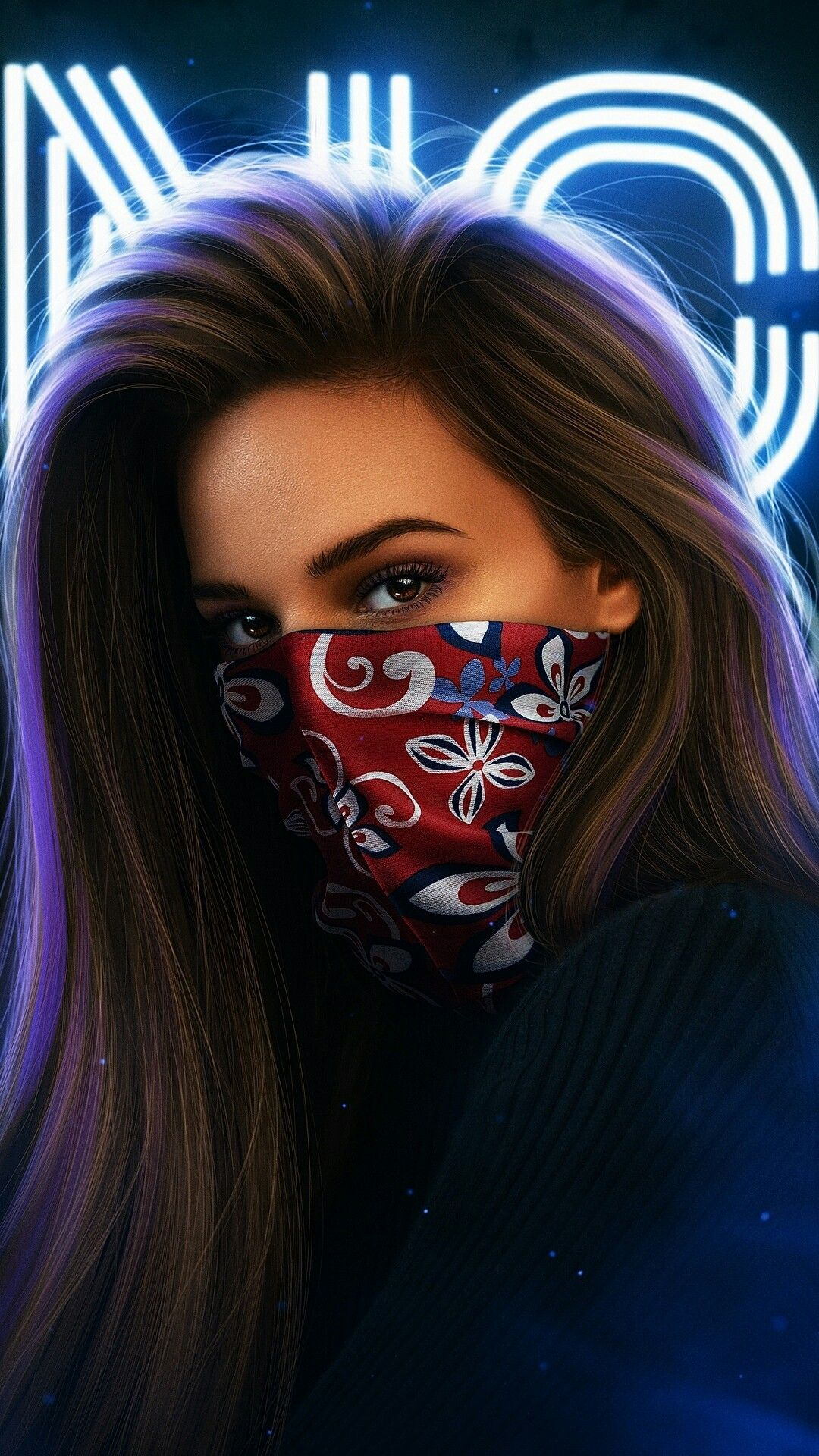 Imagen Girls Girl Iphone Wallpaper Beautiful Girl Drawing Mask Girl