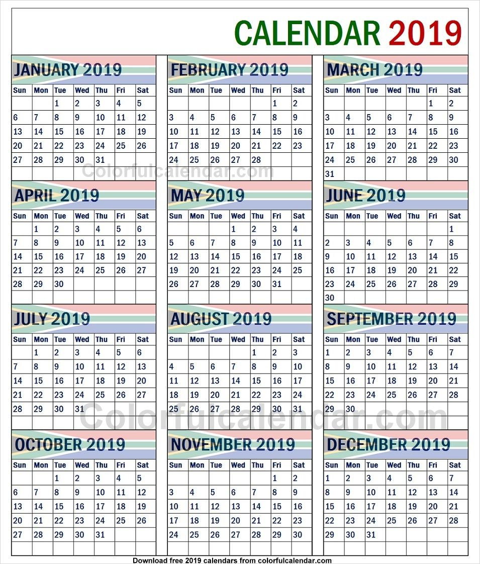 2019 South African Calendar With School Holidays Calendar 2019