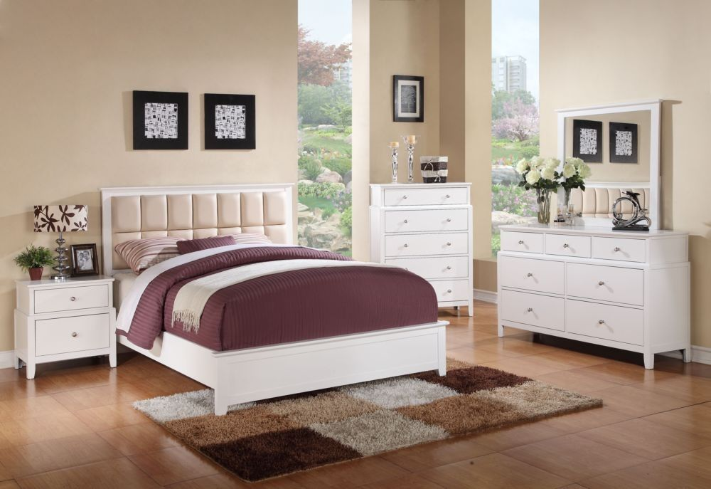 Poundex F9286Q 4 Pieces White Queen Bed Room Set FURN - Julie
