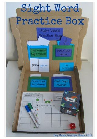 Sight Word Practice Box ~ What a clever way to reuse a pizza box! Plus, you can take the box with when you are on the go! See the link below for directions and labels to print.    I wonder if we can think of practice boxes for other subjects such as; math fact boxes, history boxes, phonics sorting boxes, writing/journal boxes.