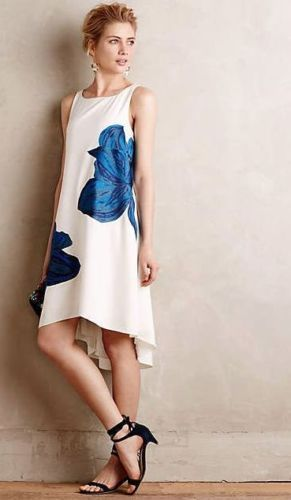 03c356b8871d0 $178 Anthropologie Ranna Gill Embroidered Bluebell Swing Dress White Blue L  #RannaGill #Swing