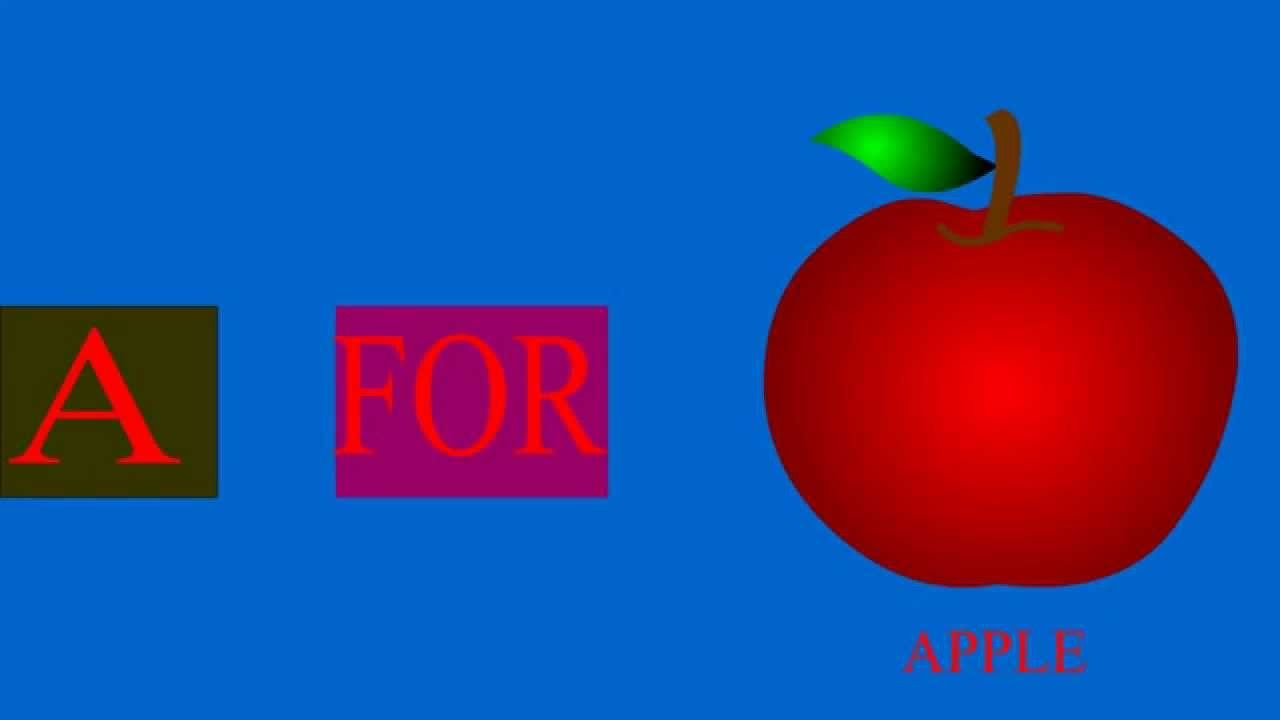 a for apple learning alphabet kids rhymes phonic songs a to