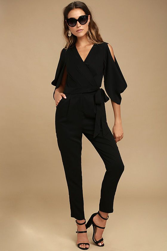 The Adelyn Rae Hold Tight Black Jumpsuit is the best thing that ever  happened to your girls night out! Woven poly shapes a plunging V-neckline  (with modesty ... 64e0af398
