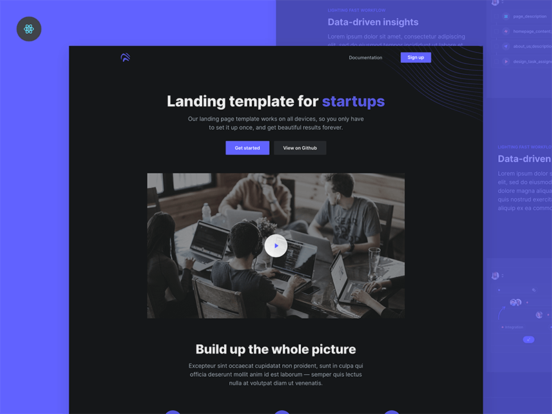 Open Free React landing page template Freebiesbug in