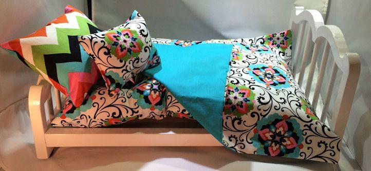 "American Girl 18"" Doll Bedding | 4 pc teal, black, pink | 2 Pillows - Blanket - Mattress  | Handmade Gift Set by 2KrazyLadiesCrafts on Etsy"