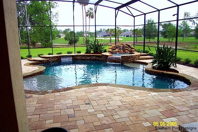 Our future zero entry pool with rock form waterfall hot tub | Yard ...